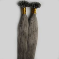 Wholesale hair nail fashion for sale - Group buy New Fashion Silvery Grey Color Hair Extensions Keratin Fusion Nail U tip Human Hair Extensions Remy Pre bonded Hair Virgin Peruvian