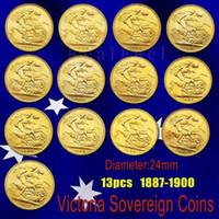 volle schwarze platte großhandel-13PCS 23mm Großbritannien Sovereign Full Set Messing Goldmünze überzog Queen Victoria Münze