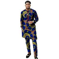 resmi gömlek giyen adam toptan satış-Afrika giyim erkek baskı pantolon set ile patchwork gömlek Ankara pantolon setleri özelleştirilmiş düğün giymek erkek resmi kıyafetler