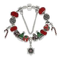 braceletes do projeto elegante venda por atacado-Marca Red Beads Encantos Pulseiras Elegante Europeu Pandorx Design Papai Noel Árvore De Natal Flocos De Neve Pulseira para o Presente Da Jóia Do Natal DHL