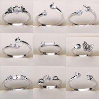 ingrosso mescolare le impostazioni dei monili-Impostazioni dell'anello di perle 925 Anelli del nastro per le donne 20 stili MIX Anelli fai da te Dimensioni regolabili Impostazioni gioielli Regali regalo di Natale Gioielli