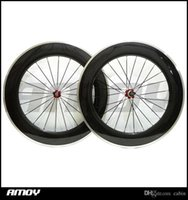 Wholesale carbon road cycling resale online - c mm mm wide Carbon Fiber Clincher Road Bike Bicycle Wheels Novatec Hubs Aluminum Alloy Brake Cycling