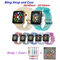 reloj de banda transparente al por mayor-Glitter Bling Band para Apple Watch 42mm 44mm Transparente Silicona Glitter Bling Band para iWatch 38mm 40mm Cómoda correa de reloj y estuche