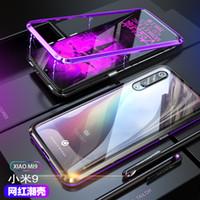 металлические флип-чехлы оптовых-Роскошный магнитный адсорбции флип телефон чехол для Xiaomi Mi 9 чехол магнит металлический закаленное стекло задняя крышка xiaomi Mi9 крышка