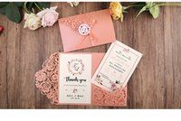 Wholesale Wedding Invitations - Blush Pink Trifold Laser Cut Wedding Invitations Pearl Shimmy Pocket Wedding Invite with RSVP Card and Ribbon and Round Tag