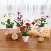 potes de plantas chinesas venda por atacado-New 1Pc Flor Artificial Rose chinês bonsai planta de estar Escritório Sala de Jardim das Plantas Decor Flor Potted