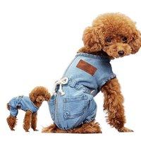 Wholesale dog clothes s m for sale - Group buy Pet Cat Dog Classic Denim Jeans Shirt Strap Jeans Coat Vest Jacket Jumpsuit Clothes S M L XL