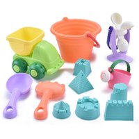 Wholesale children sand buckets for sale - Group buy Soft Silicone Beach Toy Children Kids Baby Bath Toy Bucket Tool Rake Hourglass Outdoor Play Sand Tool Set Outdoor Play Set Bb50
