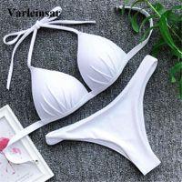 iki parçalı bikini yukarı itmek toptan satış-Push Up Bikini 2019 Mayo Kadın Mayo Kadınlar İki adet Bikini Bra Fincan ile Brezilyalı Set Mayo Yıkanma Mayo V1208 Giymek
