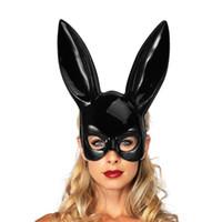 классические маски для хэллоуина оптовых-Рождество Masquerade Кролик маска Sexy зайчик девушка клуб партия Тема костюмы Классический женский Хеллоуин костюм аксессуары