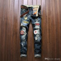insignes en tissu achat en gros de-Jeans droites pour hommes européens et américains Patch Patch Patch pour adolescents