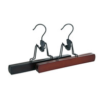 röcke kleiderbügel großhandel-Rotwein Schwarz Holz Kleiderbügel Männlichen Und Weiblichen Beliebte Tragbare Rock Hosen Clip Multi Funktion Einfache Mode 2