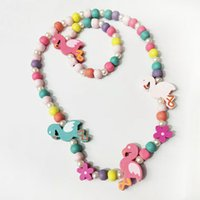 Wholesale kids girls bracelets for sale - Group buy 5 styles kids necklace sets accessory Colorful beads Bird Flower Rainbow Charm Beads necklace and bracelet kids girl Birthday Jewelry gift