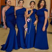 modesta vestido azul formal al por mayor-2019 modesto azul real vestido de dama de honor de sirena caliente chica negra formal noche de fiesta vestido de fiesta un hombro boda vestidos de invitados