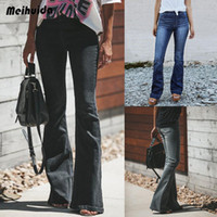 ingrosso jeans blu fondo-Brand New Womens anni '60 anni '70 Blu Campana sbiadita Fondo Hippy Jeans a zampa svasata Jeans svasati Y190429