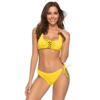 micro yellow bikini beach achat en gros de-Jaune Sexy À Lacets Bikinis Push Up Maillot De Bain Femmes Doux Pad Micro Bikini String Maillots De Bain Femme Plage Maillot De Bain 2019 Brésilien Biquini