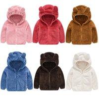 oso abrigo niños al por mayor-Niño Niña abrigos de pieles 6 diseños de estilo de dibujos animados oso sólido Diseñador cortos Outwear chaquetas de los niños niños de algodón de la cremallera de la capa 6M-5T 04