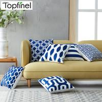 cojines de sofá azul marino al por mayor-Topfinel Geométrico Impreso almohadas decorativas Fundas de cojines Fundas de cojines Azul marino Para Sofá Silla de asiento Microfibra
