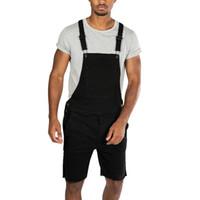 hohe mode herren overalls großhandel-Neue 2019 Sommer Mode Männer Mode Jeans Overalls Shorts High Street Style Distressed Denim Latzhose Mens Casual Pants
