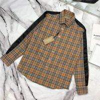 camisas xadrez pretas para homens venda por atacado-19ss nova marca de luxo design bbr preto lateral xadrez lazer blusa camisa das mulheres dos homens moda streetwear camisolas camisas ao ar livre