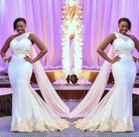 ingrosso un abito da sposa spazzata spalla-Africano Mermaid Abiti da sposa 2019 Plus Size Una spalla Tulle Applique di pizzo Ruffles Sweep Train Wedding Abiti da sposa robes de mariée