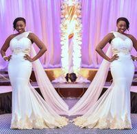 um vestido de casamento varredura de ombro venda por atacado-Sereia Africano Vestidos De Casamento 2019 Plus Size Um Ombro Tule Rendas Applique Babados Trem da Varredura Vestidos De Noiva Do Casamento robes de mariée