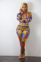 combinaisons de taille plus achat en gros de-Plus la taille Femmes Designer Combinaisons One Piece Suits Imprimé Skinny Fit V-cou Sexy Vêtements à manches longues