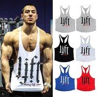 fitnessweste weiß großhandel-Herren Sommer Fitness Sport Tank Tops Baumwolle Lift Print Weste ärmellose Gym Herren Workout Bekleidung Muskel Weiß Gelb