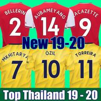 top xxl al por mayor-Top de calidad de Tailandia 19 20 camiseta de fútbol ARSENAL AUBAMEYANG LACAZETTE OZIL TORREIRA camisetas 2019 2020 camiseta de fútbol kit de fútbol camisetas de fútbol