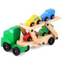 brinquedos de transporte automóvel venda por atacado-MRY Diecasts Veículos de brinquedo Double Decker caminhão de madeira Model Car Toy Toy Transport Transportador Truck Simulation for Children