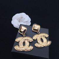amethyst schmuck ohrringe großhandel-Luxus Große Baumeln Ohrringe Marke Buchstaben Ohrring Ohrstecker Frauen Mädchen Hochzeit Schmuck Zubehör