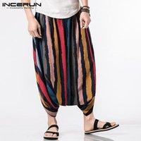 pantalon large à l'entrejambe achat en gros de-Ethnique Hmong Harem Pants Mens Rayé Big Crotch Casual Cross-pants taille élastique Jambe Jupe Pantalon Mode Homme Big 5XL