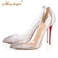 Wholesale crystal shoes 12cm for sale - Group buy Red Bottom High Heels Stilettos Clear Silver Gold Pumps Crystal Rhinestone Wedding Shoes Bride Woman Transparent Party cm cm