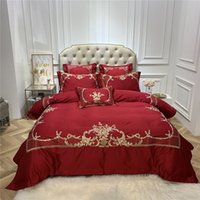 королевский синий лист оптовых-Red 4/6pcs blue dark blue  Egyptian cotton Royal Bedding sets Queen King size Duvet cover Bed sheet set Pillowcase
