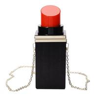 Wholesale banquet bags resale online - Women Acrylic Black red Lipstick Shape Evening Bags Purses Clutch Vintage Banquet Handbag
