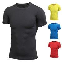 comprar mangas esportivas venda por atacado-Homens Verão Quick-dry apertado respirável camisa esportiva com gola redonda manga curta YS-BUY