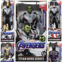 Wholesale new toy iron man resale online - 6 Style Avengers Endgame Action Figures toys New Avengers Thanos Iron Man Captain Marvel Hulk Captain America model doll kids toy B