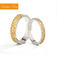 anéis de liga redimensionáveis venda por atacado-Mulheres na moda Casais de ouro onda Resizable anel de cobre liga de prata amantes chapeamento redimensionáveis moda anéis de jóias aniversário