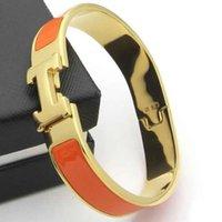 ingrosso colla per gioielli-Colore dell'oro Circa 12cm H Bangle Moda Donna Titanio Gioielli di alta qualità 12mm Larghezza 18K Placcato oro Colla inviare con borsa per le donne regalo