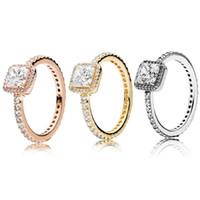 anéis de diamantes reais 18k venda por atacado-Real 925 Sterling Silver CZ anel de diamante Fit ouro 18K anel de casamento jóias de noivado para mulheres