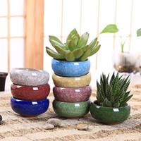 ingrosso vaso di bonsai in ceramica-Vasetto per fiori in ceramica per piante succulente Vasetto per vasi in ceramica per bonsai Piccoli vasi per piante succulente