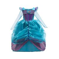 uzun kollu tutu kostümleri toptan satış-Bebek Cosplay Kıyafetler Kız Mermaid tutu prenses Elbise uzun Kollu Cadılar Bayramı Performans Kostüm çocuk kız Örgü top elbise M198