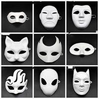 Wholesale venetian mask white resale online - DIY White Paper Masks Unpainted Animal Hero Venetian Mask for Men Women Kids Carnival Face Masks Christmas New Year LXL1010