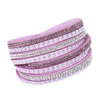 Wholesale velvet wrap bracelet resale online - Hot drill bangle for girl women gift handmade velvet bracelet with bling rhinestone wrap leather bracelet