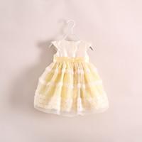 vestido de uma peça de flor venda por atacado-1-6 ANOS Meninas bebê tridimensional flor lace dress vestidos de princesa crianças shoes manga vestido criança one piece-dress roupas de marca