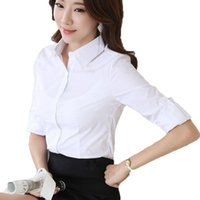 ingrosso roupas femininas blusas-Primavera e l'estate nuova camicia di design puro bianco elegante abbigliamento da ufficio femminile caldo camicia femminile Roupas Blusas Femininas casual