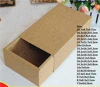 sapatas da caixa de dobramento venda por atacado-25 tamanhos marrom caixa de gaveta de embalagem para presente, sapatos de papel kraft roupas jóias deslizante caixas de presente caixa de armazenamento dobrável