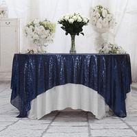 lacivert düğün masaları toptan satış-Masa Koşucu 50 '' x 50 '' Kare lacivert Pullu Masa Örtüsü Pullu Kaplamaları, Koşucular, Gatsby Düğün, Glam Düğün Dekor, Vintage Düğün