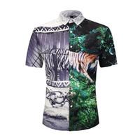 korkak baskı toptan satış-3d Kaplan Hawaii Gömlek Erkekler Kısa Kollu Tropikal Gömlek Komik Hayvan Baskı Düğme Aşağı Elbise Gömlek Funky Yaz Rahat Bluz