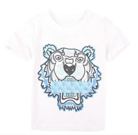 kızlar kaplan üstleri toptan satış-Yaz Yeni T Shirt Bebek Erkek Kız Tops Kaplan Kafası mektup T Gömlek Erkek Giyim Marka Kısa Kollu Tişört Çocuklar Tops